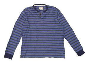 Marks-amp-Spencer-Mens-Size-L-Cotton-Striped-Blue-Long-Sleeve-T-Shirt