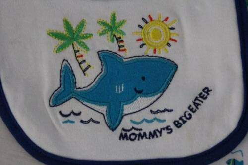 NEW Baby Boys 3p Outfit 3-6 Mo Bodysuit Pants Bib Set Blue Whale Mom Big Eater