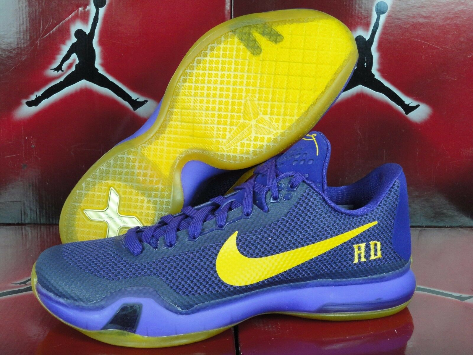 NEW Nike ID Kobe X 10 Low Lakers Purple Gold Yellow Price reduction Wild casual shoes