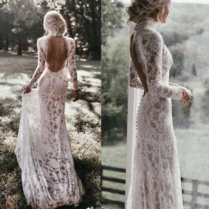 Vintage-Lace-Wedding-Dresses-White-Ivory-Bridal-Gowns-Train-Long-Sleeves-Sheath