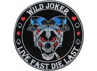 (f20) Wild Joker Live Fast Die Last 4 Iron On Patch (4651) Biker Vest
