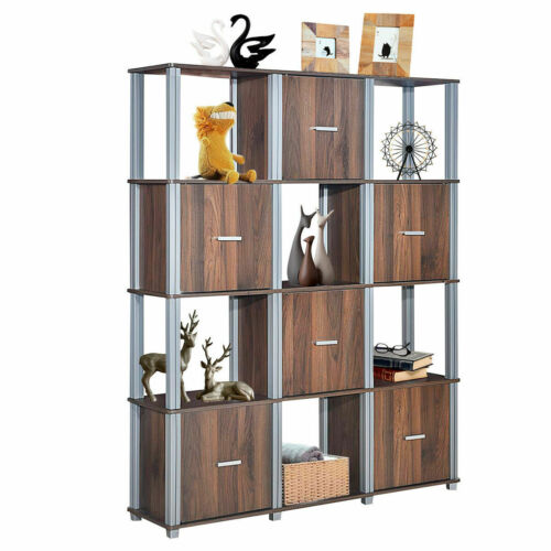 4-Tier Storage Shelf 12 Cube Organizer Unit Display Bookcase Walnut W//6 Doors