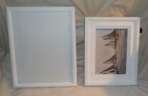 Set Of 2 White Painted Wood Photo Frames 8x10 5x7 Shabby Chic