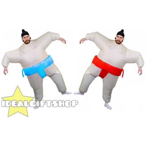 2 GONFIABILE LOTTATORE DI SUMO COPPIA Novità Costume Grasso Vestito Tuta di Sumo