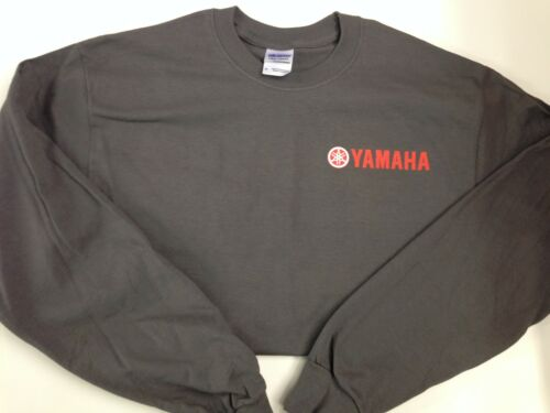 NEW Yamaha Long Sleeve TShirt Charcoal, Red Yamaha Logo