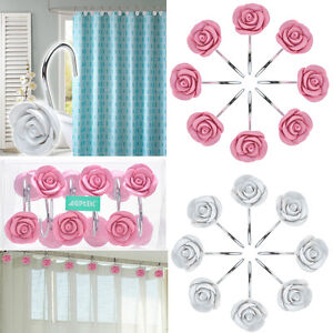New 12 PCS Fashion Decorative Home Bathroom Rose Shower Curtain Hooks