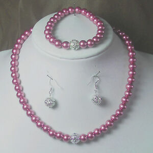 Brautschmuck Perlen Schmuckset Rosa 45cm Ohrhaken 925er Silber Neu