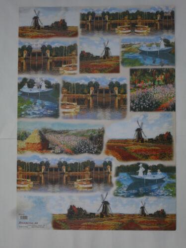 thème: peintre Monet 68X48cm Papier découpage technique serviette