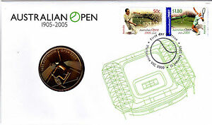 2005-Australian-Open-Tennis-FDC-With-Commemorative-5-Coin