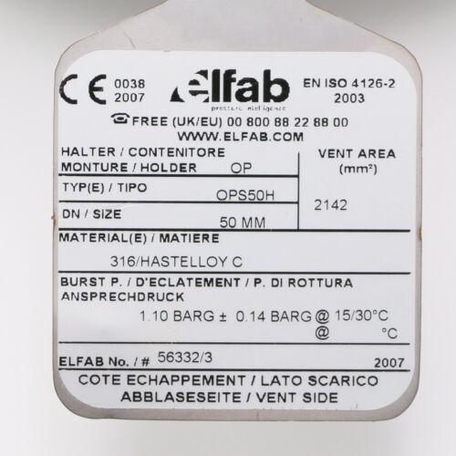 Elfab HLD-REV-050-SXS-FG1 Berstscheibe mit Halter OPS50H
