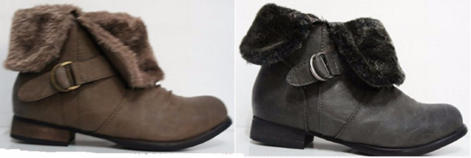 Taupe / Brown or Black Fur Cuff Ankle Boots F5790