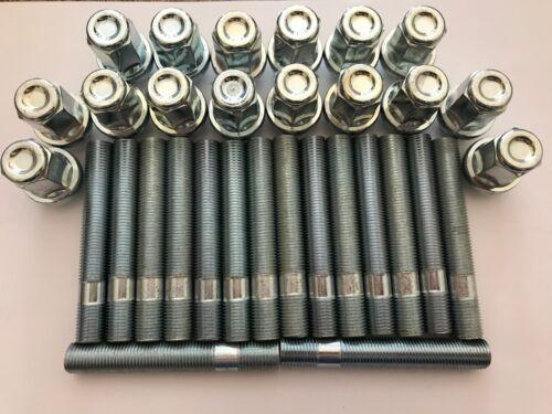 16 X M14X1.5 ROUE ALLIAGE CONVERSION Goujons écrous 80 Mm Long pour BMW E65 X3 X5 E53