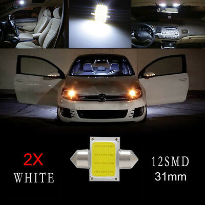 4 pcs 31mm 12 SMD COB LED T10 6W White Light Car Interior Dome Lamp Bulbs New