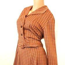 Vintage 40s 50s KNIT DIAMONDS Swing Belted PIN UP Secretary Day Dress L X