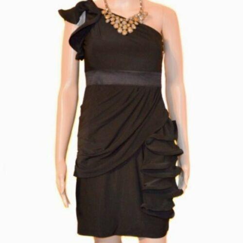 Phoebe Couture Black Single Shoulder Ruffle Dress
