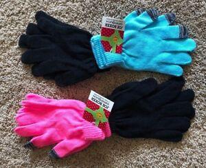 Girls-Black-Light-Blue-Pink-Joe-Boxer-Texting-Gloves-4-Pair