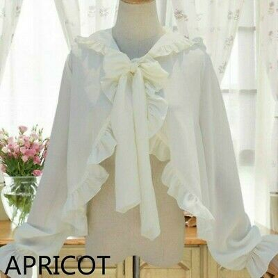 Women Cape Shrug Poncho Jacket Wrap Cloak Bolero Lolita Gothic Ruffle Hooded