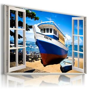 3D-BOATS-BY-THE-BEACH-Window-View-Canvas-Wall-Art-Picture-Large-SIZE-30X20-034-W257