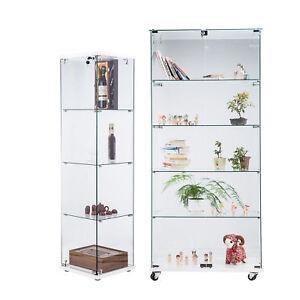 La Foto Se Está Cargando Modern Curio Cabinet Glass Display  Case Showcase Storage