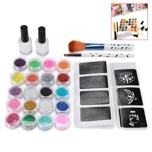 48Pcs-Stencil-Glue-Brush-20-Colors-Powder-Kid-Adult-Glitter-Temporary-Tattoo-Kit