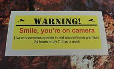 "Warning ""Smile you'r on Camera"" Sticker 7-10 year vinyl eco solvent inks"