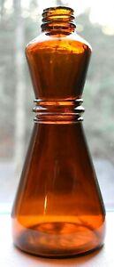 Vintage-7-3-4-034-Hour-Glass-Shape-Amber-Glass-Bottle-Made-By-O-Bear-Nester-Glass-C
