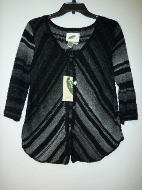 Nurture New Womens Monte Carlo Black Gray Cardigan Sweater Medium
