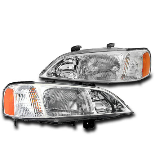 FOR 1999 2000 2001 ACURA TL CHROME SET REPLACEMENT HEADLIGHTS HEADLAMP NEW PAIR