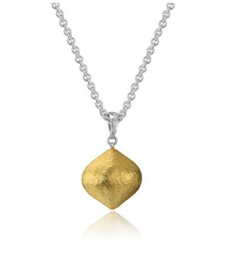 Gurhan Clove Puff Sterling Silver 24K Gold Layered Grand Goutte Collier Pendentif