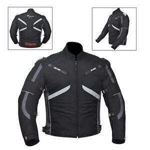 Grey-Black-Men-039-s-Waterproof-Genuine-Motorbike-Motorcycle-Cordura-Jacket-CE