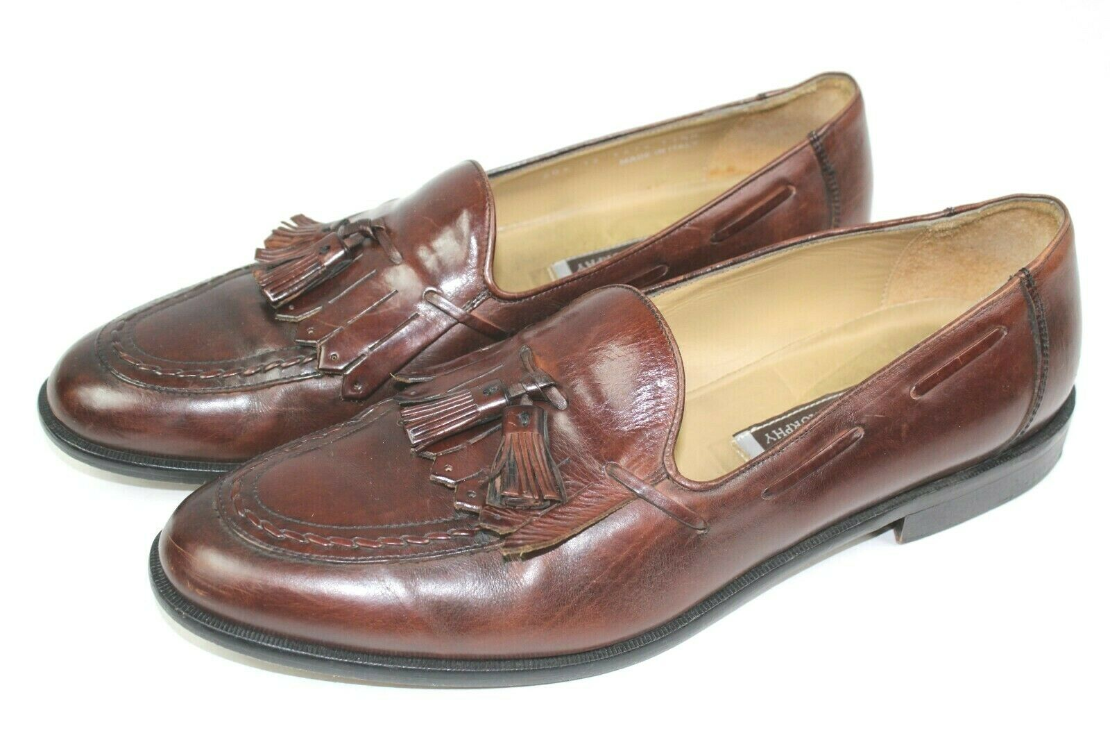 Johnston and Murphy mens leather dress shoes size 11.5 dark brown loafers