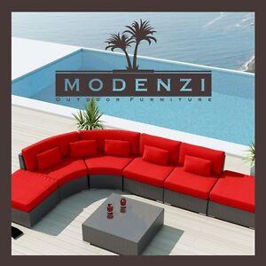 Modenzi 7x Modern Patio Rattan Wicker Set Outdoor