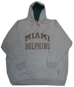 Discount Miami Dolphins NFL 14 Zip Mens Gray Pullover Hoodie Big & Tall  free shipping