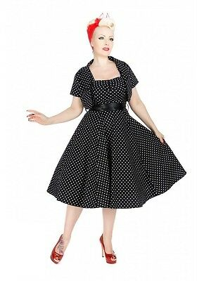 H & R 9353 Black White Small Dot  Dress Bolero Pinup Vintage Retro Housewife
