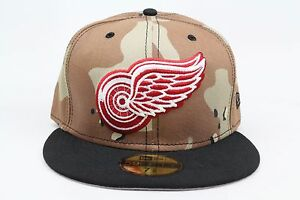 81f09543ed9 Details about Detroit Red Wings Desert Camo Black Red White NHL New Era  59Fifty Fitted Hat Cap