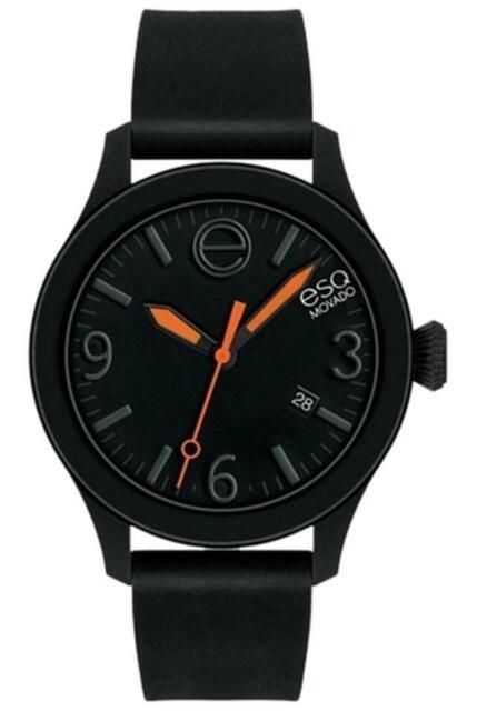 Movado ESQ Unisex Swiss Silicone Strap Black Watch 43mm 1119