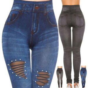 Fashion-Women-Denim-Skinny-Pants-High-Waist-Hole-Stretch-Trousers-Slim-Leggings