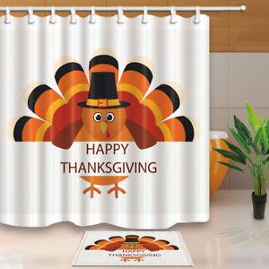 Image Is Loading Thanksgiving Day Cartoon Turkey Bird Bathroom Fabric Shower