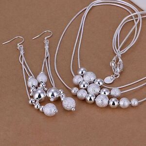 925-Sterling-Silver-Jewelry-Set-Drop-Balls-Pendant-Necklace-Chain-Womens-Bridal