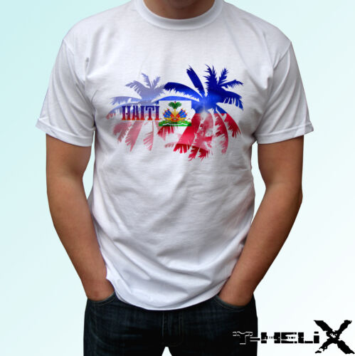 white t shirt holiday top design mens womens kids baby sizes Haiti palm flag