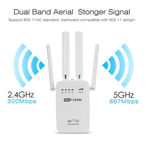 1200//300Mbps Home WiFi Repeater Wireless Router Range Extender Signal Booster