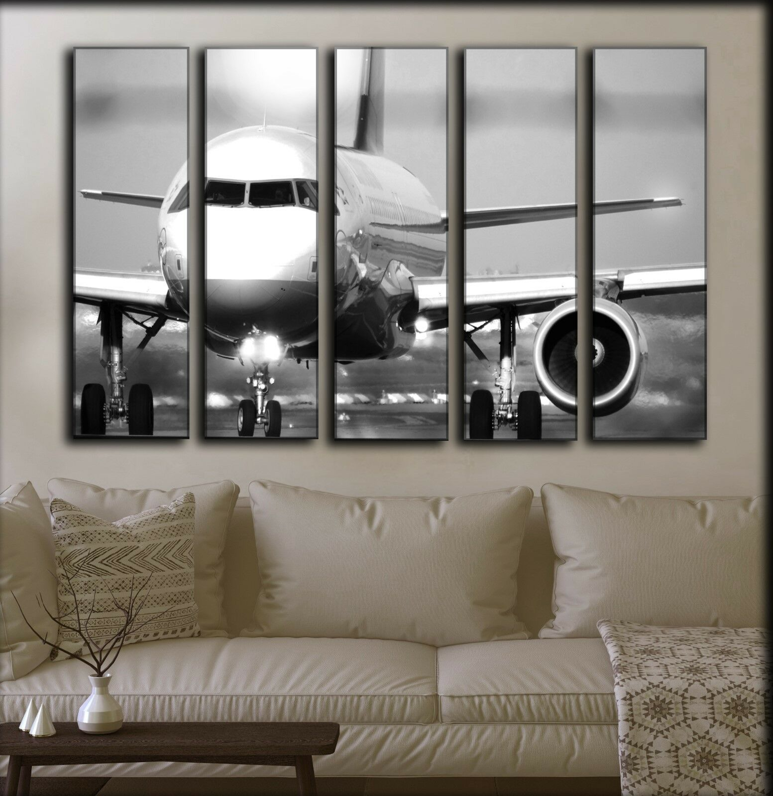 BIG SET 5 Panels Jet Airplane Wall Canvas Art Aircraft Aviation Gift For Pilot