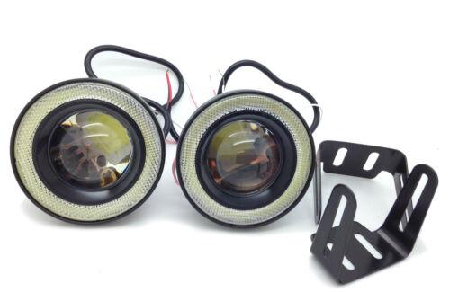 Fits Nissan NAVARA PRIMERA Projector Cob LED Fog DRL Spot Lights Angel Eyes Pair