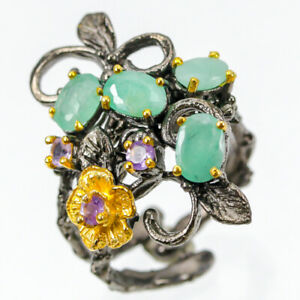 Unique-SET-Natural-Emerald-925-Sterling-Silver-Ring-Size-9-R77962