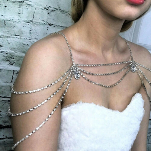 Hanmade Wedding Bridal Crystal Rhinestone Shoulder Chain Necklace Collar