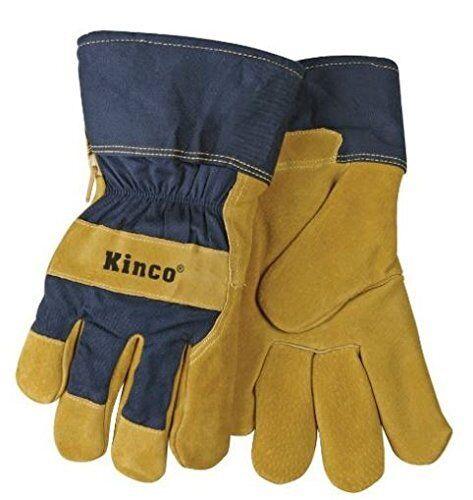 KINCO 1926-L Men's Lined Suede Pigskin Gloves, Heat keep Lining, Large, Golden