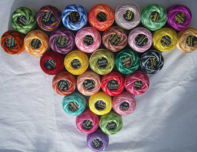 30 nice Colours Size 8 Bargain 30 ANCHOR Vareigated Pearl Cotton Balls
