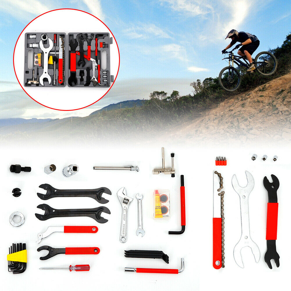 44pcs  Complete Bike Bicycle Repair Tools Tool Kit Set Home Mechanic Cycling SALE  order now lowest prices