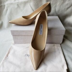 factory outlets watch cheap prices New Jimmy Choo 39.5 9.5 Aza Pointy Toe Pump Low heel Beige Nude ...
