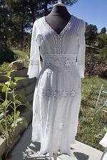 Vintage GAUZE HIPPIE BOHO MAXI DRESS NEIMAN MARCUS EXCLUSIVE White India M